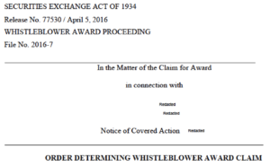 SEC whistleblower award reduction