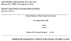 SEC whistleblower award rules