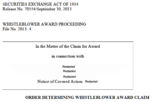 SEC whistleblower award criteria