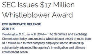 $17 million SEC whistleblower award