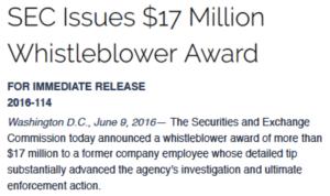 $17 million SEC whistleblower award