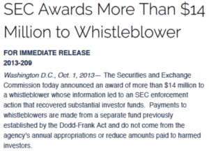 SEC whistleblowers award criteria