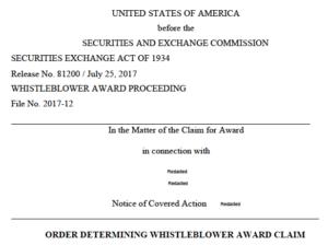eligibility SEC whistleblower award