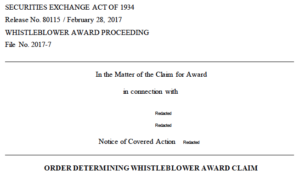 SEC whistleblower award reduced
