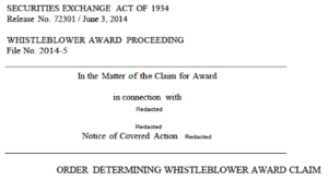 SEC whistleblower award payments