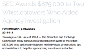SEC whistleblower award payment